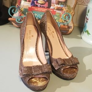 Kate spade peep toe gold sparkle heel